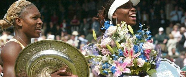 Serena after beating her sister Venus for her first Wimbledon title in 2002