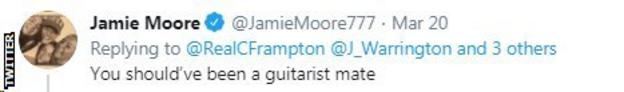 Carl Frampton's trainer Jamie Moore uses Twitter to sarcastically tell his fighter that he could have been a guitarist.