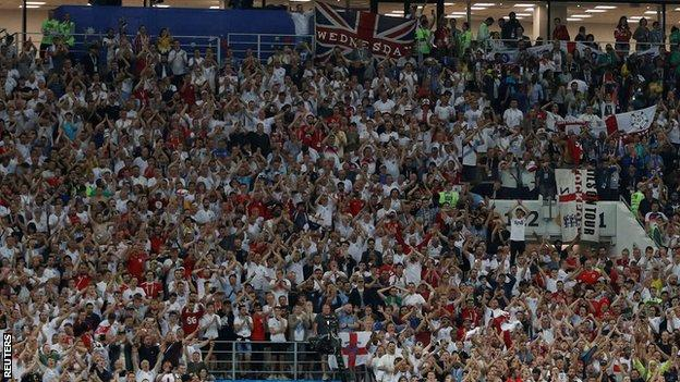 England fans at Wednesday's defeat by Croatia