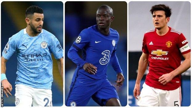 Riyad Mahrez, N'Golo Kante and Harry Maguire