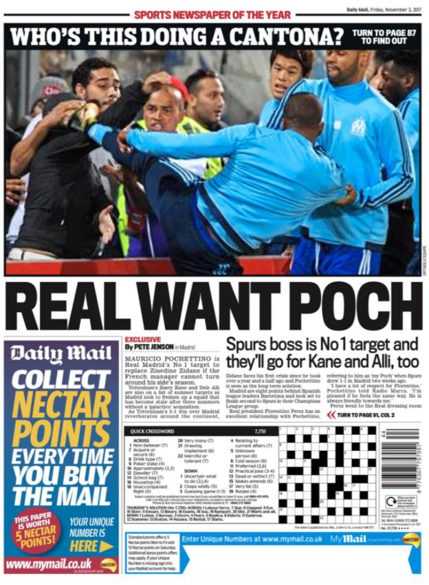 Daily Mail back page on Friday
