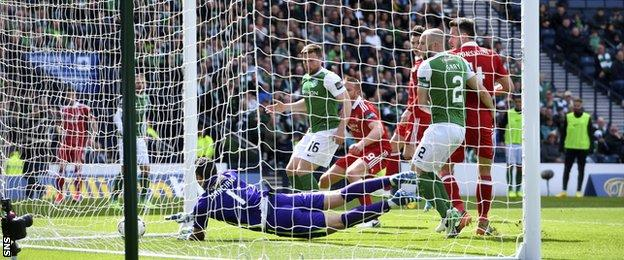 Ryan Christie's free-kick crept in after the Hibs wall broke apart