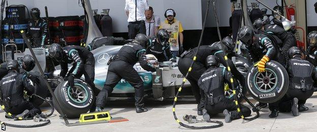 Hamilton in the pits