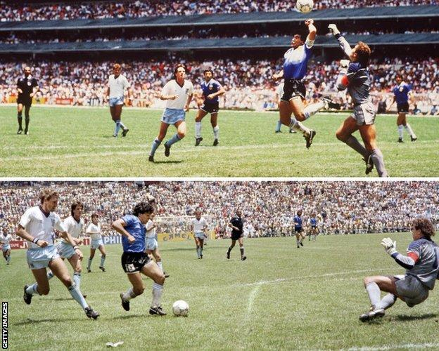 Diego Maradona's two goals against England at the 1986 World Cup