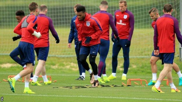 Daniel Sturridge (centre) with England team-mates
