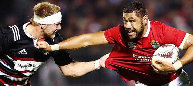 Taulupe Faletau on the attack for the Lions