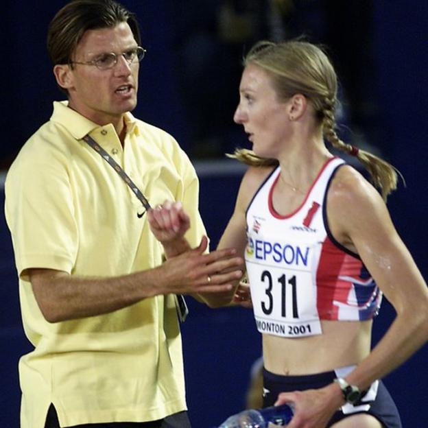Paula Radcliffe of Great Britain is consoled by her husband Gary Lough after finishing fourth in the Womens 10,000 meters Final during the 8th IAAF World Championships held on August 7, 2001 in Edmonton, Alberta, Canada.