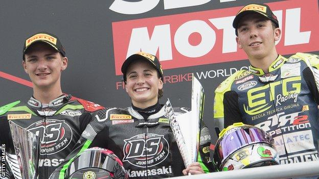 Ana Carrasco on the World Supersport 300 podium