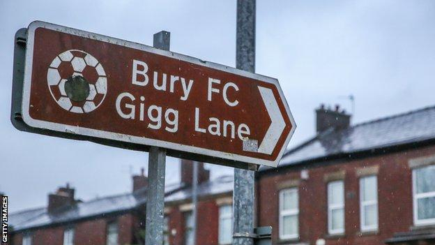 Bury FC road sign