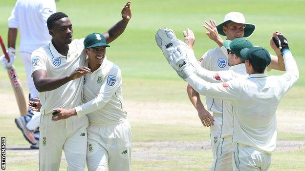 Kagiso Rabada and South Africa celebrate