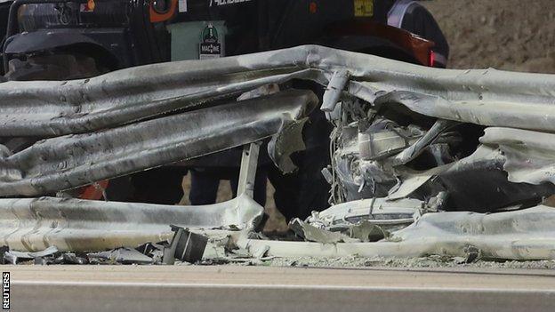 The aftermath of the barrier following Romain Grosjean's crash