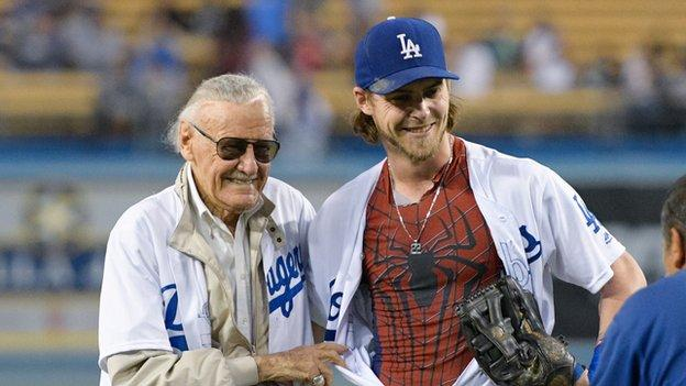 Stan Lee at an LA Dodgers game