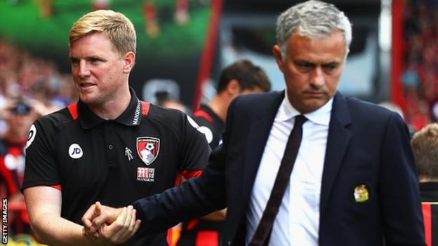 Manchester United manager Jose Mourinho (right) with Bournemouth boss Eddie Howe