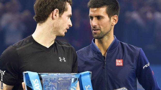 Andy Murray and Novak Djokovic at the 2016 ATP World Tour Finals