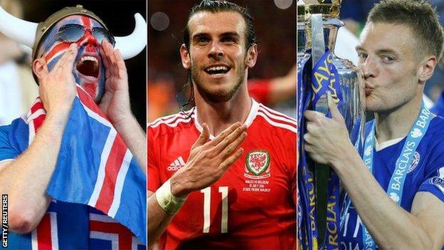 Iceland fan. Gareth Bale and Jamie Vardy