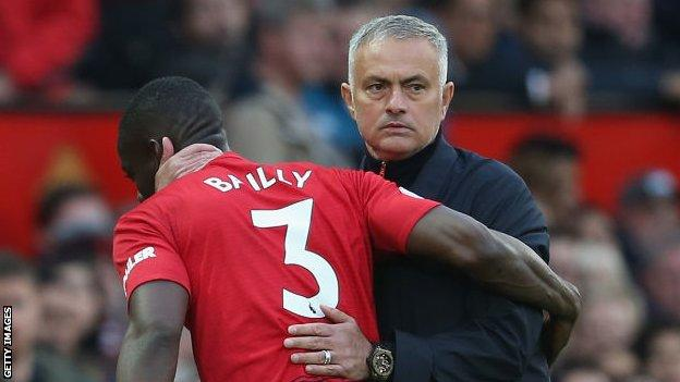 Eric Bailly of Manchester United is substituted early in the game against Newcastle