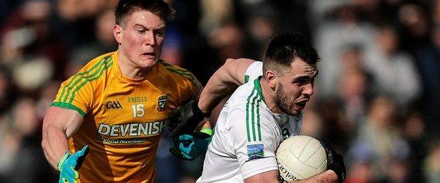 Fermanagh's Ryan Jones and Thomas O'Reilly of Meath