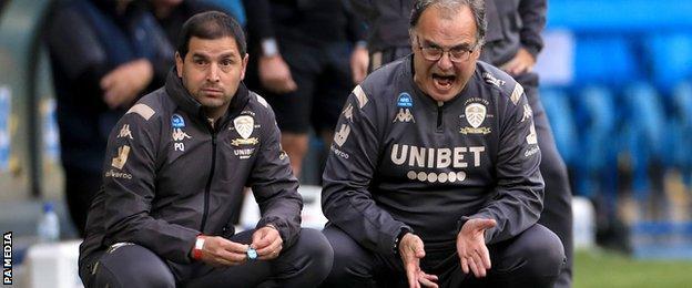 Leeds boss Marcelo Bielsa (right) often cut a frustrated figure on the touchline