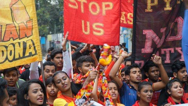 East Bengal fans celebrate