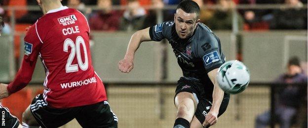 Dundalk's Michael Duffy has a shot at goal