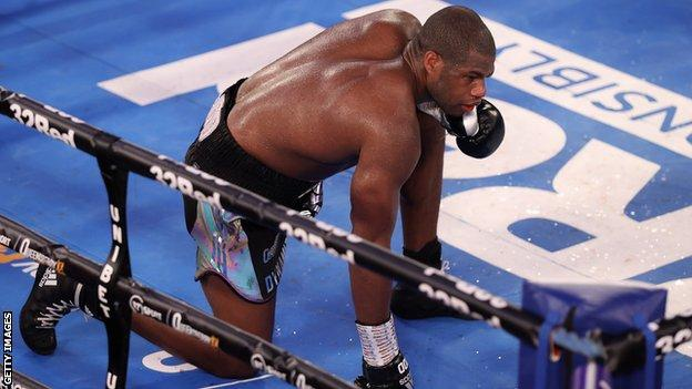 British heavyweight Daniel Dubois takes a knee and is counted out to lose to compatriot Joe Joyce