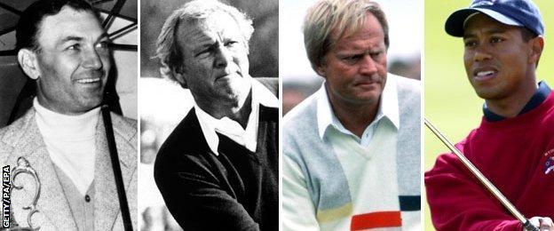 Ben Hogan, Arnold Palmer, Jack Nicklaus and Tiger Woods