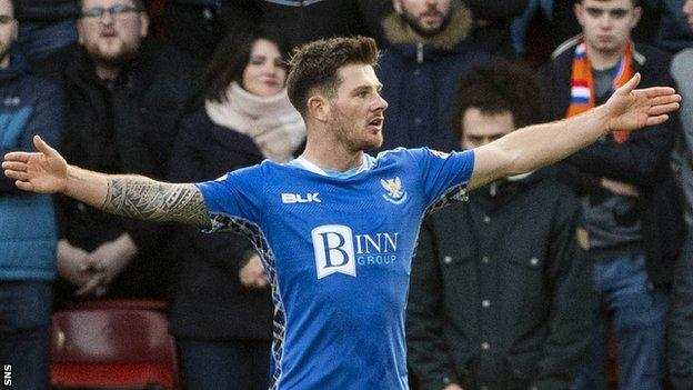 St Johnstone's Matty Kennedy celebrates scoring