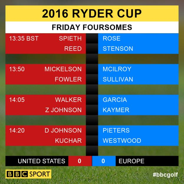 Ryder Cup Friday foursomes pairings