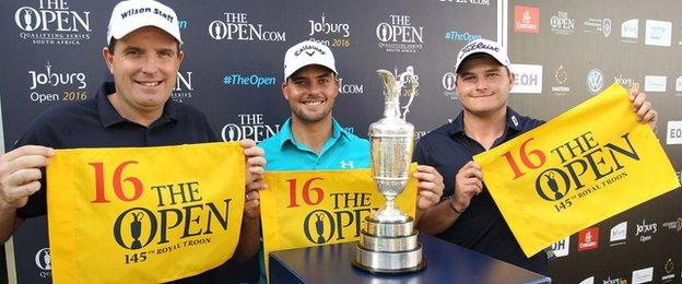 Anthony Wall (left) and South African duo Haydn Porteous and Zander Lombard are all now booked to line up at Royal Troon for the 145th Open Championship on 14 July