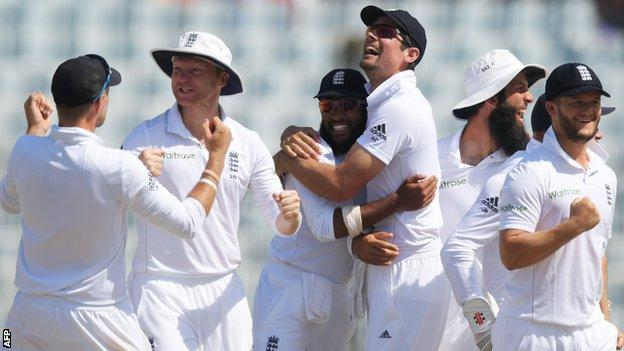 England celebrate their victory in Chittagong