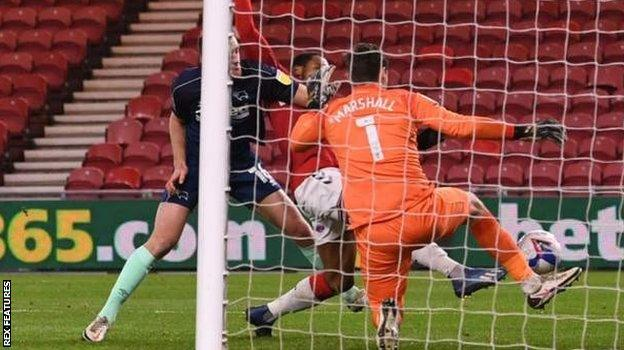 Britt Assombalonga scores for Middlesbrough against Derby County