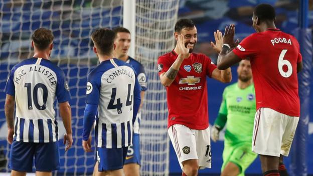 Brighton 0-3 Man Utd: Visitors score through Greenwood and Fernandes' double