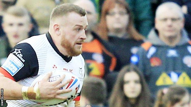 Brad Singleton featured for Toronto in their 32-10 Super League defeat by Wigan in February