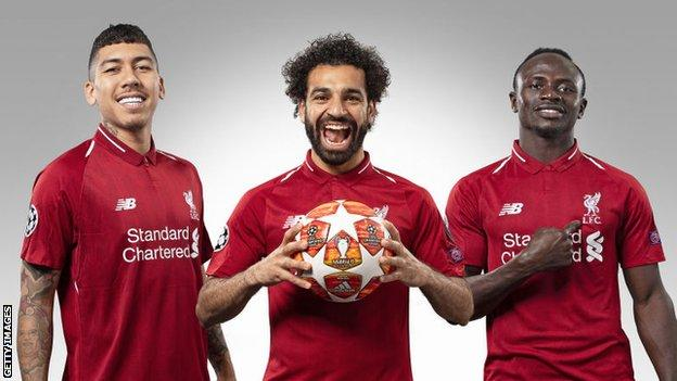 Liverpool's Roberto Firmino, Mohamed Salah and Sadio Mane