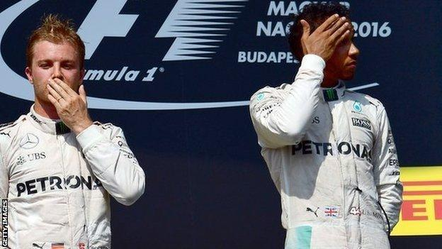Mercedes F1 drivers Nico Rosberg and Lewis Hamilton
