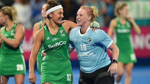 Ireland's Elena Tice and Ayeisha McFerran at the 2018 Hockey World Cup