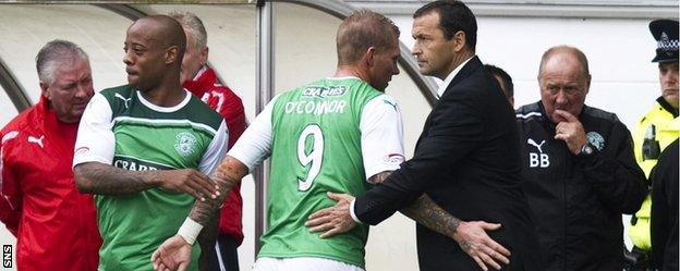 Colin Calderwood (right) in the Hibs dugout