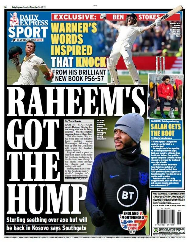 The back page of the Daily Express