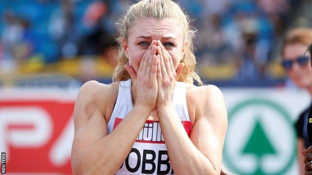 Beth Dobbin is shocked after winning the British 200m title