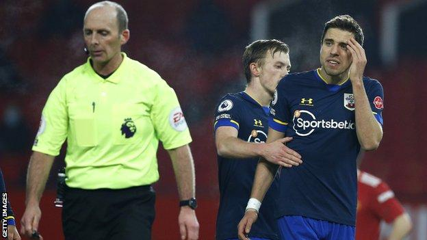 Southampton's Jan Bednarek is sent off