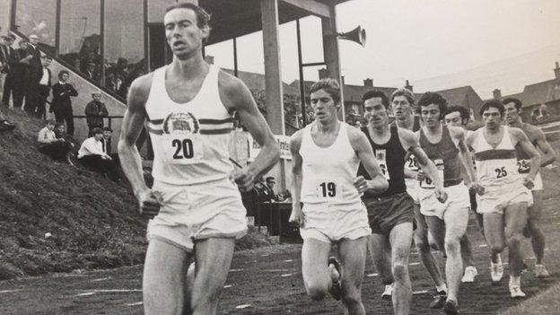 Derek Graham (left) heading England's Allan Rushmer and Scotland's Lachie Stewart on the way to winning a two-mile race at Belfast's Paisley Park in August 1968