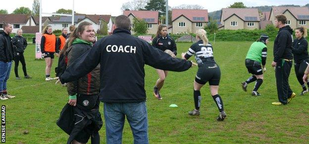 Gareth Waterfield (with his back to the camera) coaching at Winscombe Rugby Club