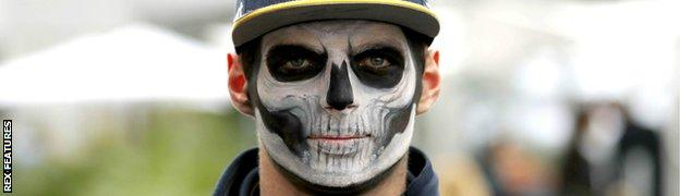 Verstappen wearing Day of the Dead facepaint at the Mexican Grand Prix