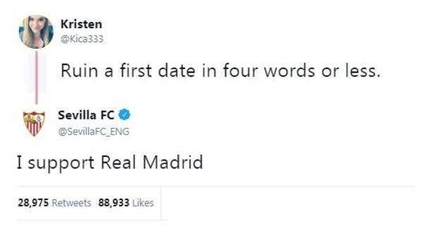 """A twitter user asks for responses to the question """"ruin a date in four words or less"""". Seville reply: """"I support Real Madrid""""."""