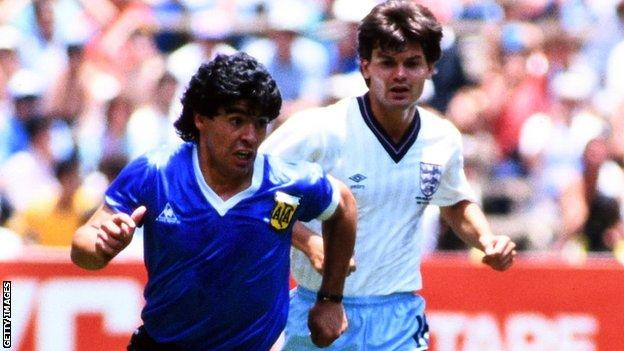Diego Maradona in the Argentina v England quarter-final at the 1986 Fifa World Cup