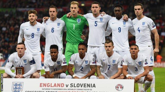 England team line-up before game v Slovenia last November