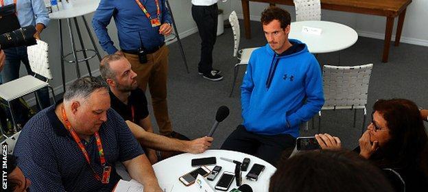 Murray talks to the media in Miami