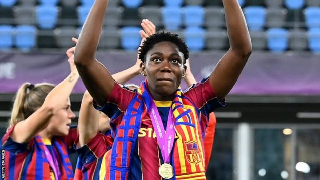 Asisat Oshoala celebrates Barcelona winning the European Women's Champions League