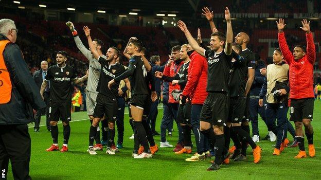 Sevilla players celebrate