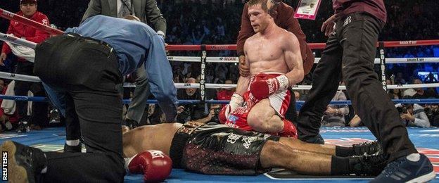 Canelo refused to celebrate victory until he was sure his opponent was OK after the knockout